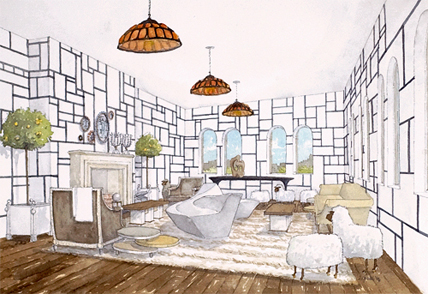 Interior Design Rendering Pamplemousse Design Inc. | Delphine Krakoff